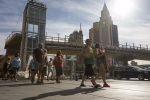 Pedestrian bridge opening on Strip delayed
