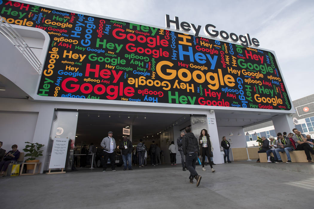 Exterior of the Google booth on day one of CES at the Las Vegas Convention Center in Las Vegas ...