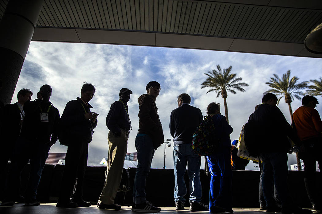 The sidewalks are packed outside the Las Vegas Convention Center during the last day of CES 201 ...