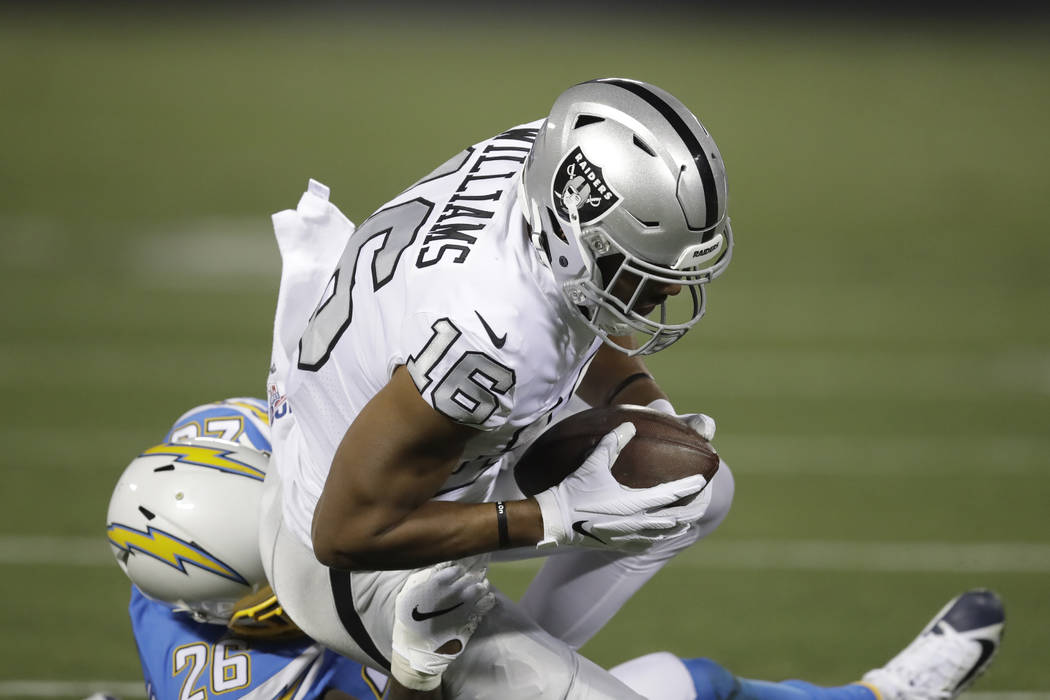 Oakland Raiders wide receiver Tyrell Williams (16) catches a pass against Los Angeles Chargers ...