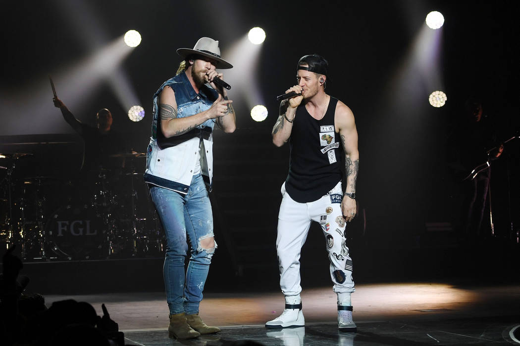 LAmerican country music duo Brian Kelley, left, and Tyler Hubbard of Florida Georgia Line perfo ...