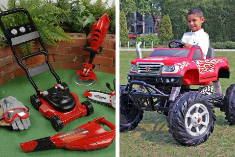 Power Gardening Tool Set from Constructive Playthings, left, and RollPlay 24 V Ride-On Monster ...