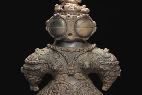 Goggle-eyed Dogu, Final Jomon Period (1000BC-300BC), H. 29.4 cm x W. 20.4 cm x D. 9.5 cm.&#x202 ...