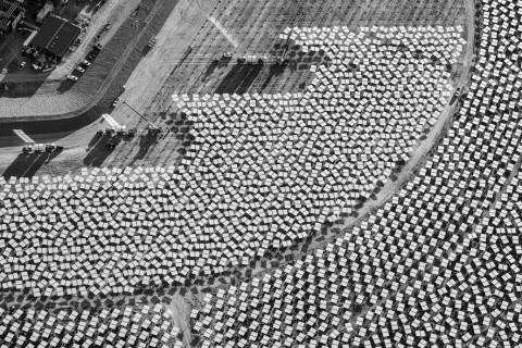 "Heliostat installation adjacent to Unit 1 power block. ""The Evolution of Ivanpah Solar,"" featur ..."