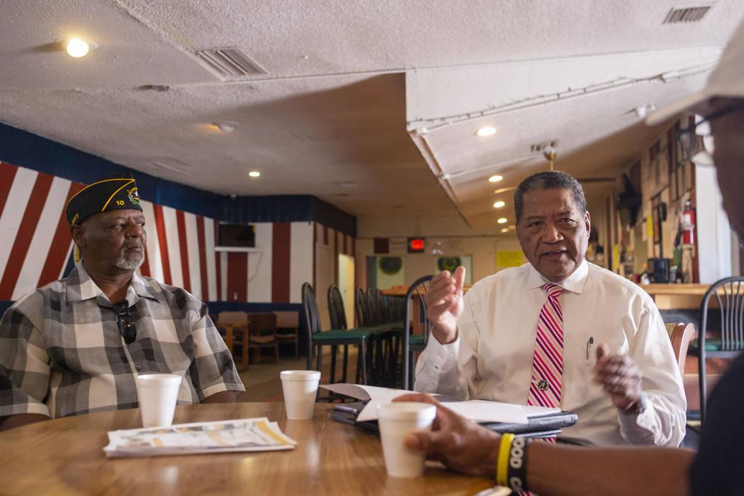 Navy veteran Kevin Felder, left, and Veterans Program Director at American Legion Post 10 Comma ...