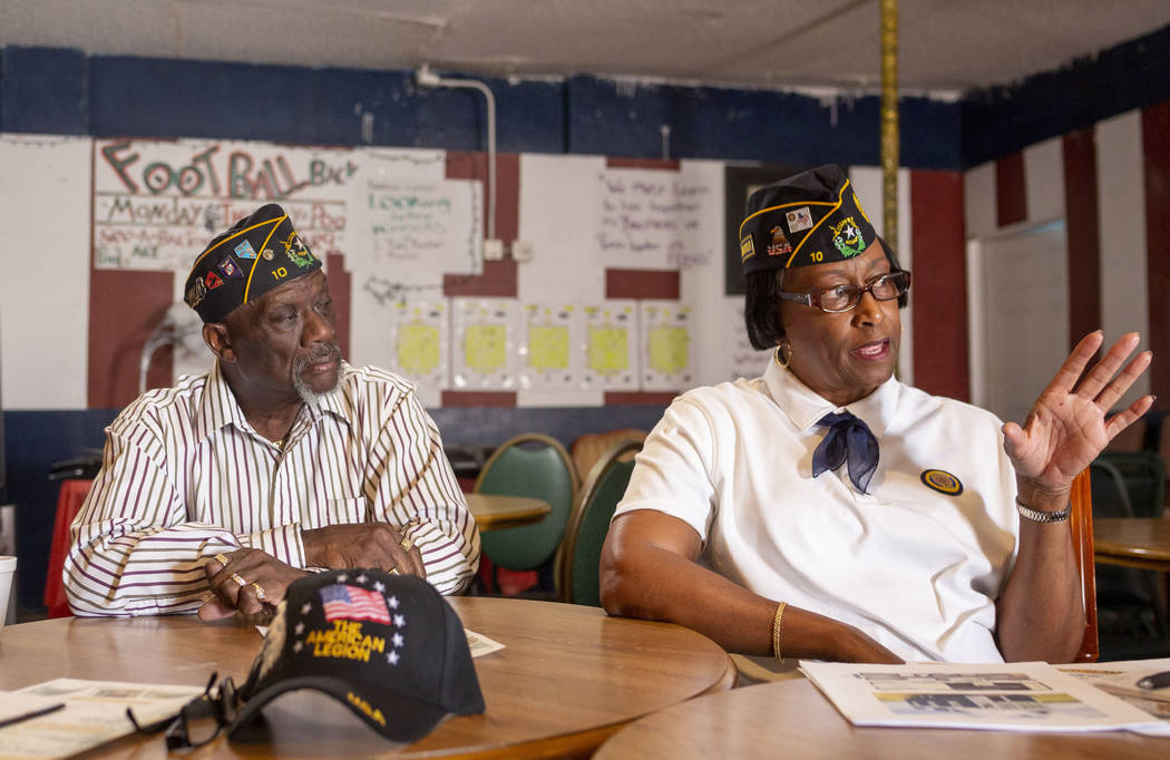 Army veterans Post 10 trustee Willie Richards, left and Post 10 judge advocate Patricia William ...