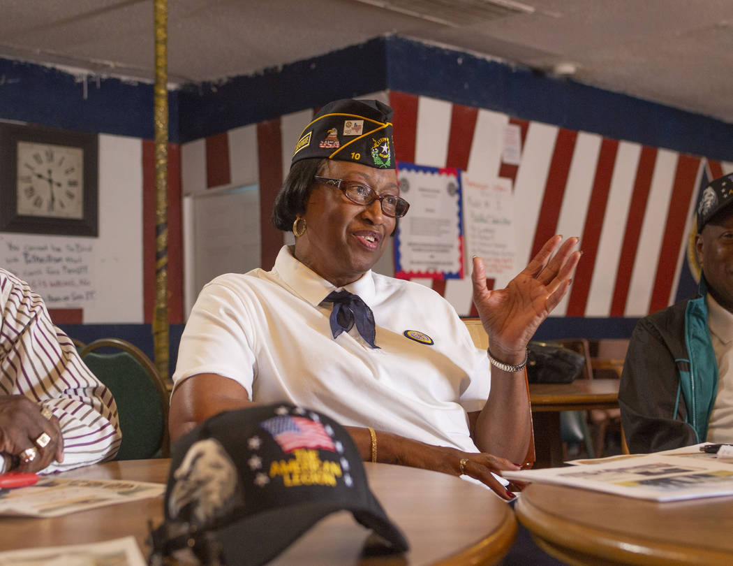 Army veteran and Post 10 Judge advocate Patricia Williams speaks during a meeting at American L ...