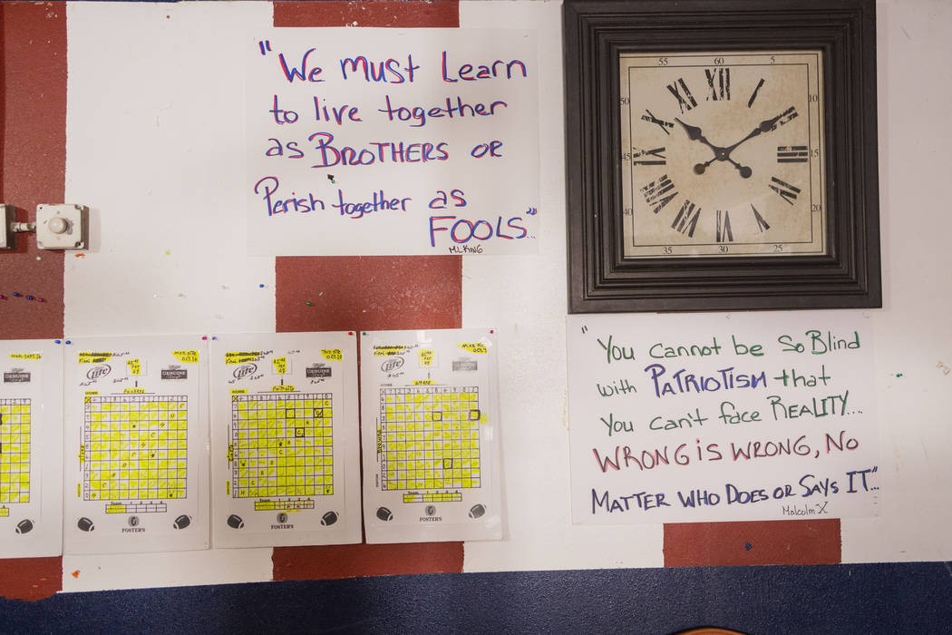Quotes hang on a wall of the American Legion Post 10 that recently received a grant from Home D ...