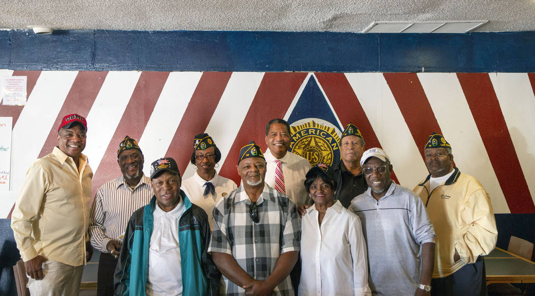 Legionares pose for a photo at American Legion Post 10 in Las Vegas on Monday, Oct. 14, 2019. ( ...