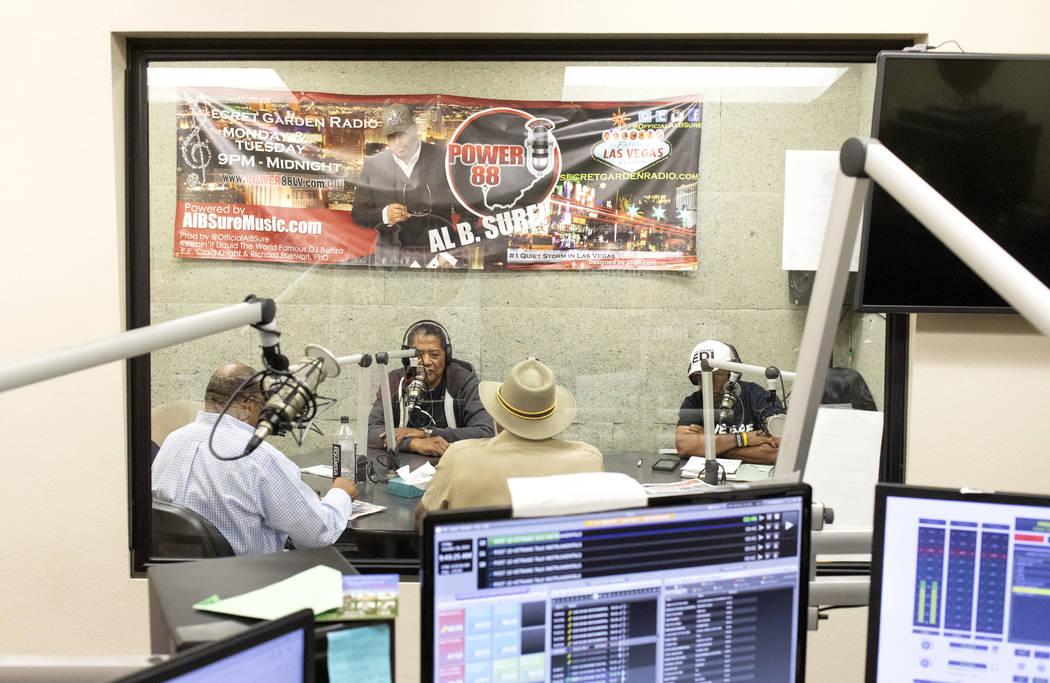 Commander of American Legion Post 10, Grady Hayes, speaks on a radio show at the KCEP radio sta ...