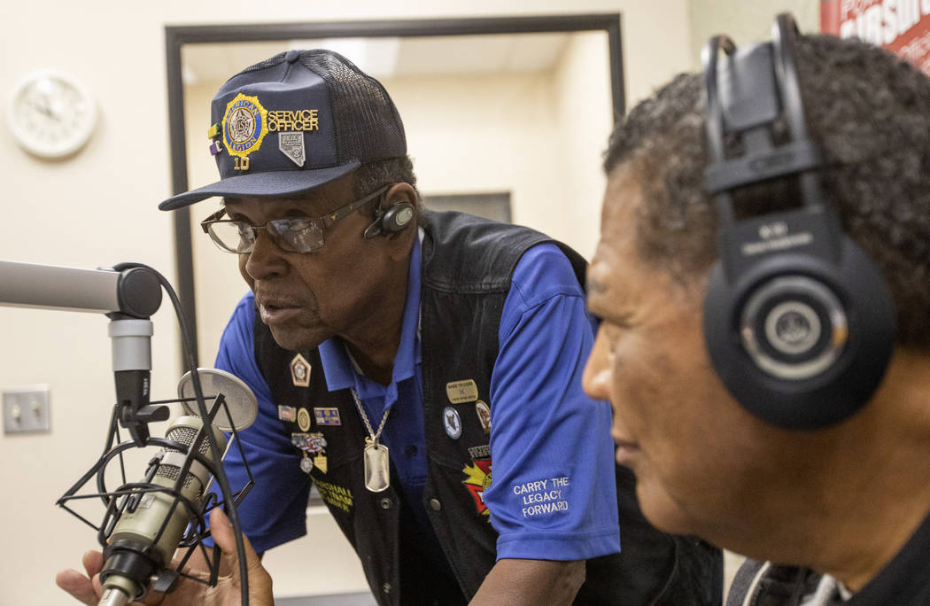 Richard Marshall, a member of American Legion Post 10, gives 88.1 FM's radio audience resources ...