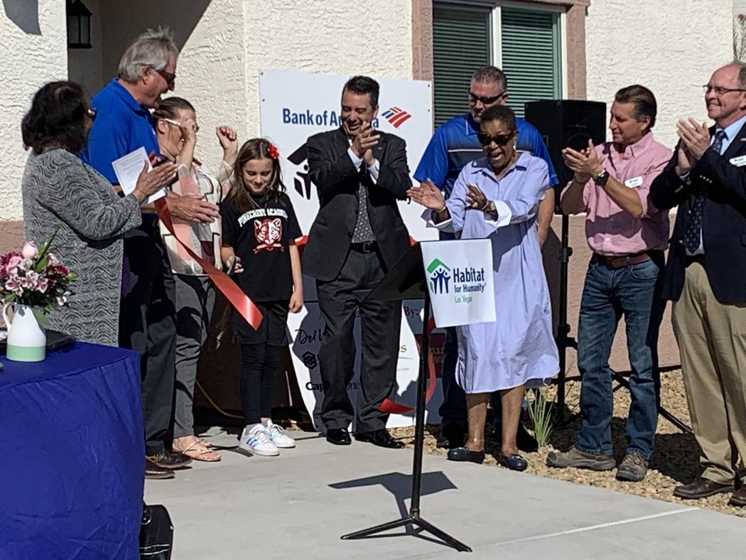 A Las Vegas single mom received the keys to her brand-new Habitat for Humanity home during an O ...