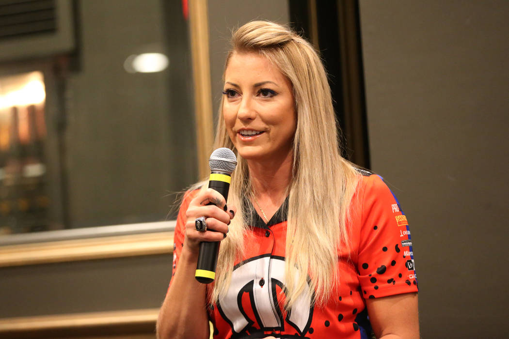 Driver Leah Pritchett participate speaks during a press conference for the Dodge NHRA Nationals ...