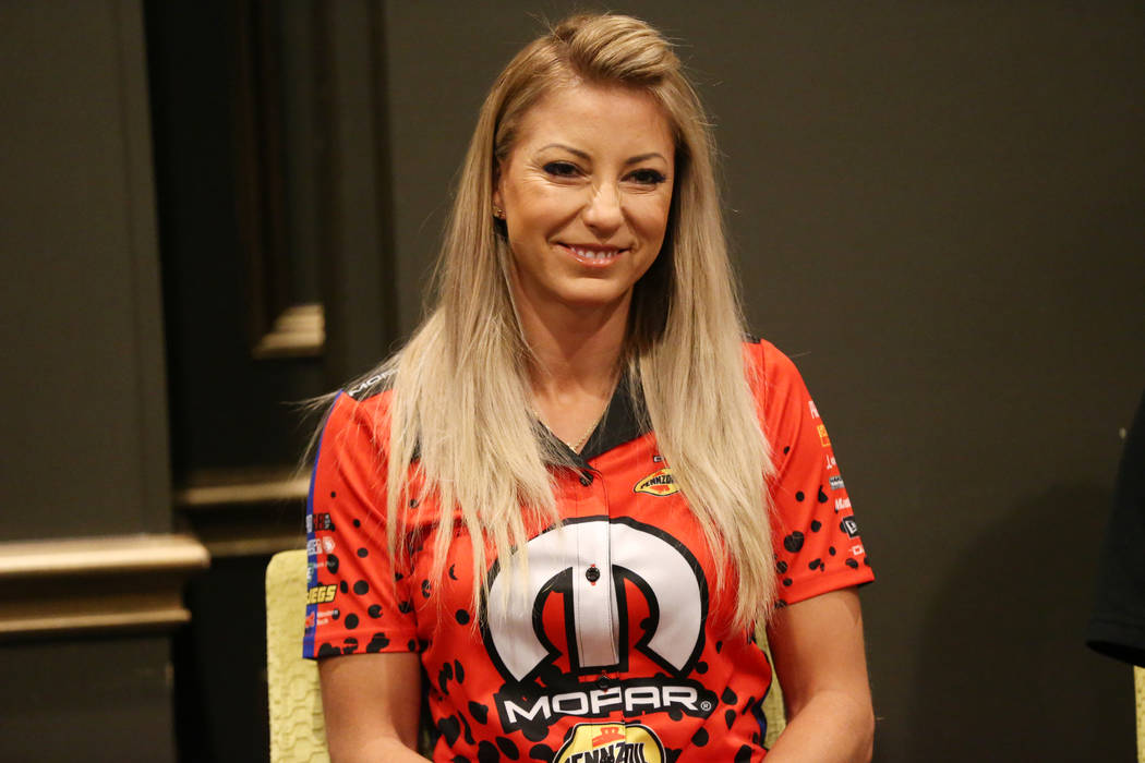 Driver Leah Pritchett participate during a press conference for the Dodge NHRA Nationals event ...