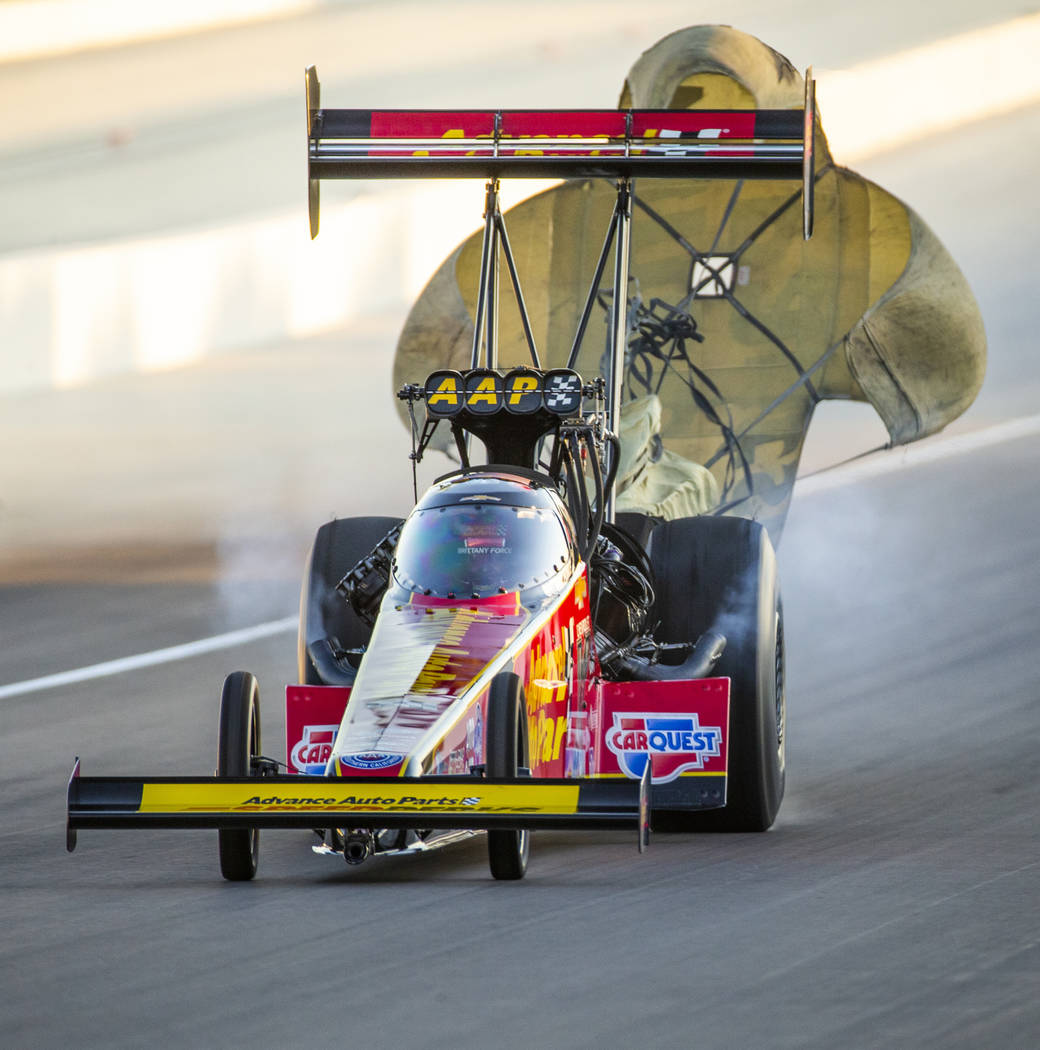 Top Fuel racer Brittany Force wins the final round of the Dodge NHRA Nationals at the Las Vegas ...