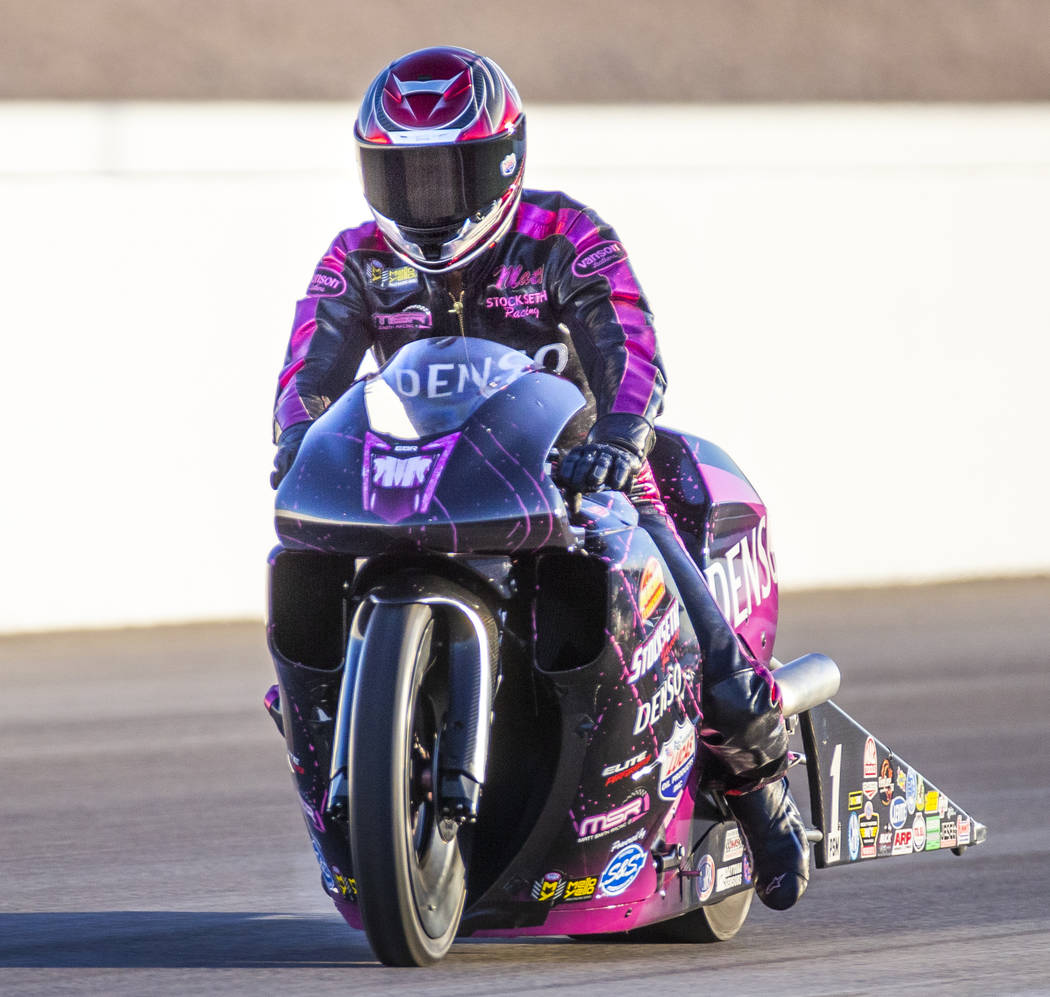Pro Stock Motorcycle racer Matt Smith wins the final round of the Dodge NHRA Nationals at the L ...