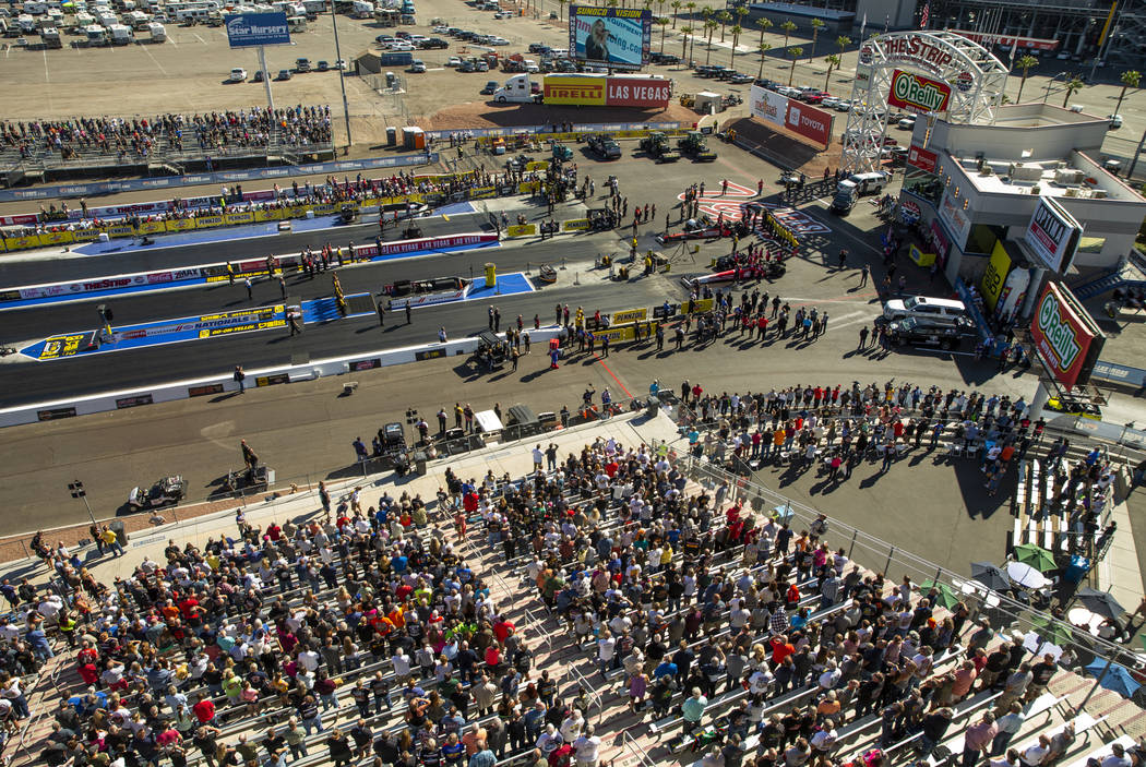 The stands are packed as another first round race is near during the Dodge NHRA Nationals at th ...