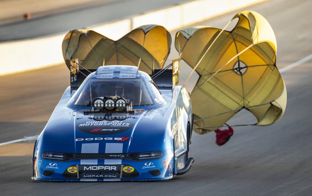 Funny Car racer Matt Hagan wins the final round during the Dodge NHRA Nationals at the Las Vega ...
