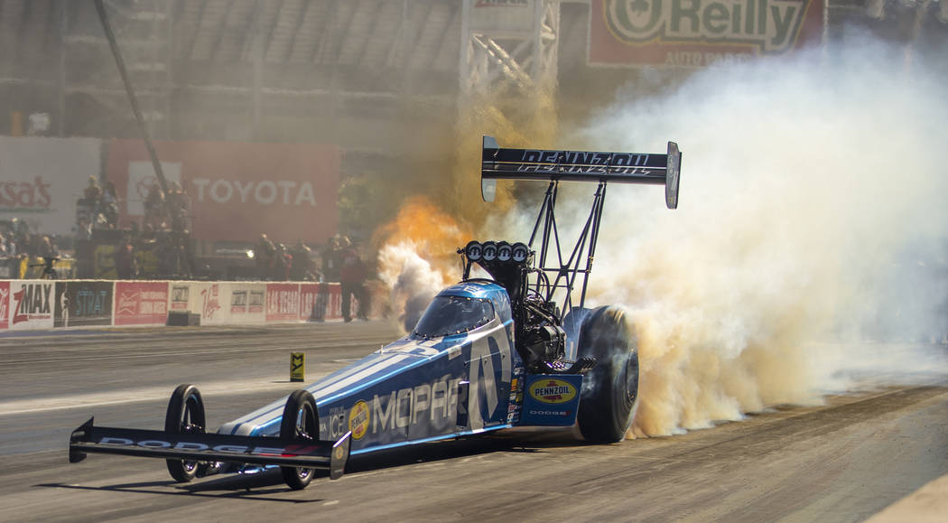 Top fuel racer Leah Pritchett has engine trouble and is eliminated during the second round of t ...