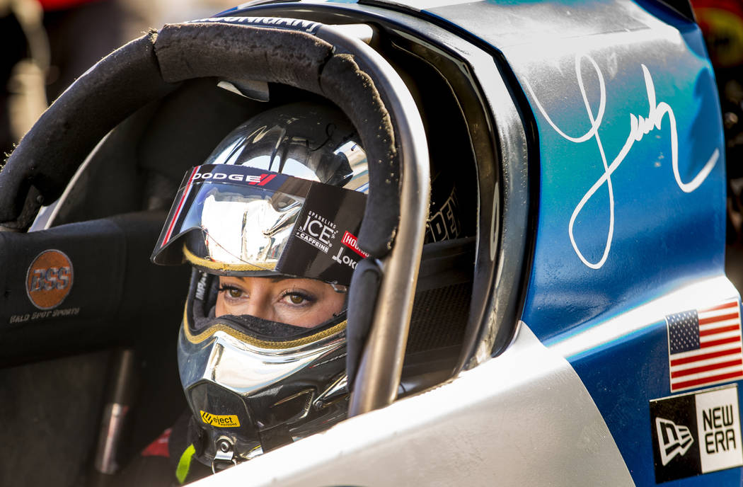 Top fuel racer Leah Pritchett awaits her match up during the second round of the Dodge NHRA Nat ...