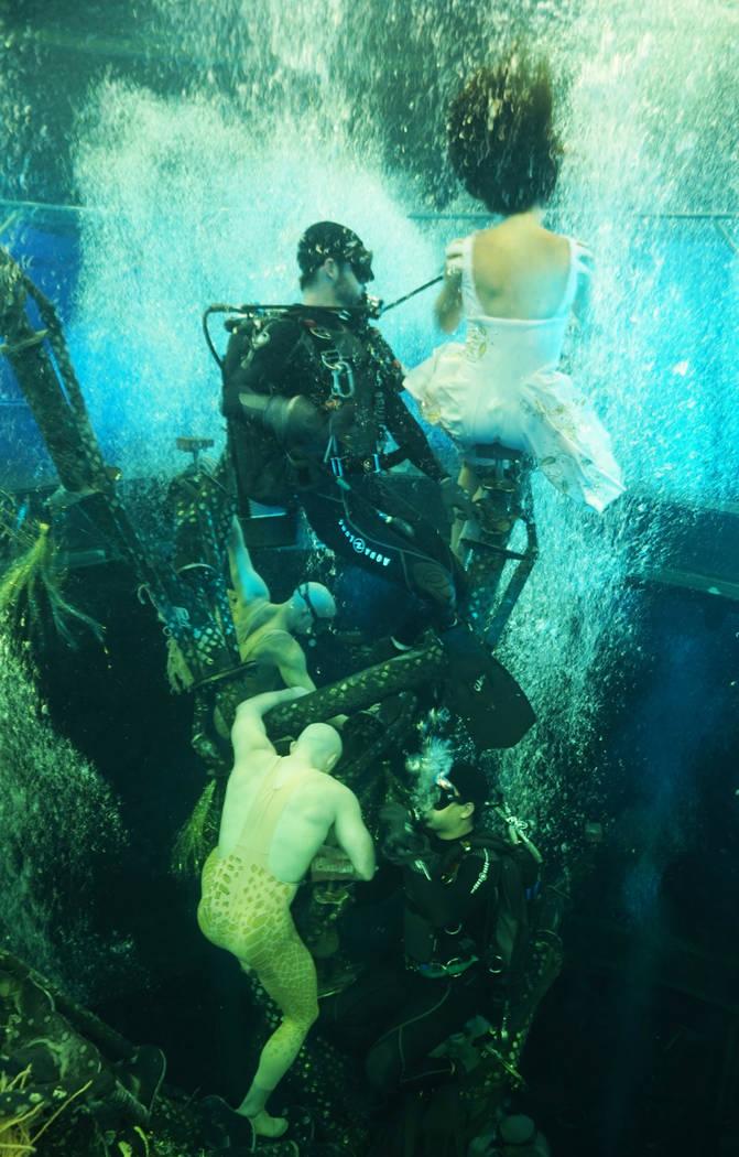 Eleven divers assist artists and change elements during performances, left, while 70 hookah reg ...