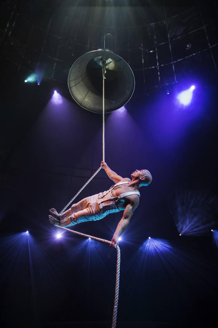 "Brett Hamby, a generalist with ""Le Rêve- The Dream,"" rehearses at Wynn Las Vegas ..."