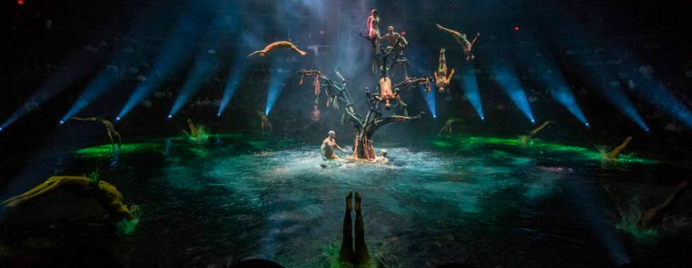 Performers leap into the 26.6-foot-deep pool from a large tree-like structure, which weighs 4,7 ...