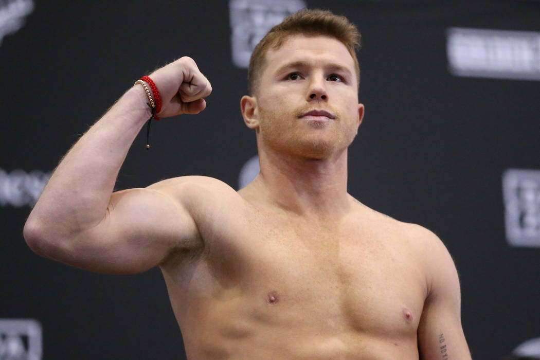 """Saul """"Canelo"""" Alvarez poses during his weigh-in event at the MGM Grand Garden Arena i ..."""