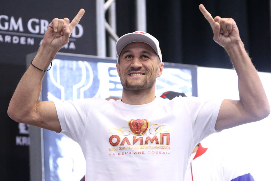 Sergey Kovalev poses during a weigh-in event at the MGM Grand Garden Arena in Las Vegas, Friday ...