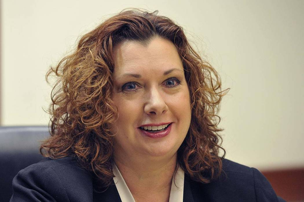 Rena Hughes, then a candidate for Family Court, speaks with the Review-Journal editorial board ...