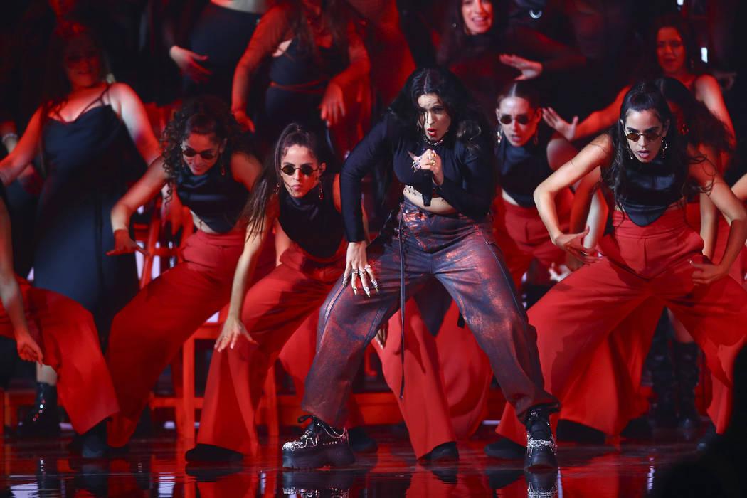 Rosalia performs during the European MTV Awards in Seville, Spain, Sunday, Nov. 3, 2019. (Photo ...