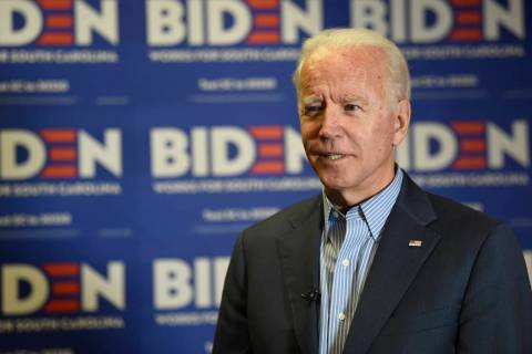 Democratic presidential candidate, former Vice President Joe Biden, speaks during an interview ...