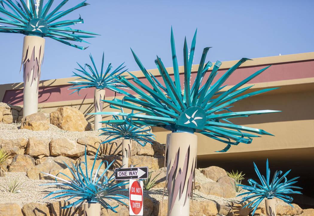 Steel cactus sculptures the Starr Avenue-Interstate 15 interchange in Las Vegas on Friday, Nov. ...
