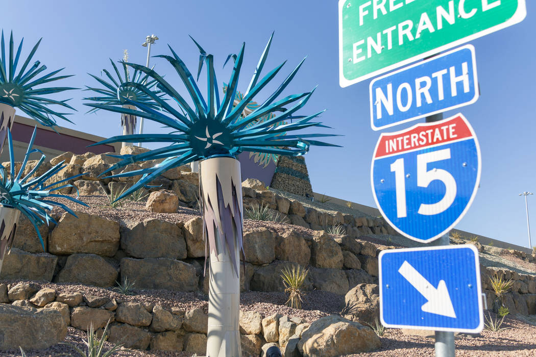 Steel cactus sculptures at the Starr Avenue-Interstate 15 interchange in Las Vegas on Friday, N ...