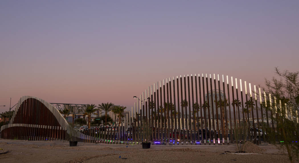 Sculptures that decorate South Grand Central Parkway and West Charleston Boulevard in Las Vegas ...