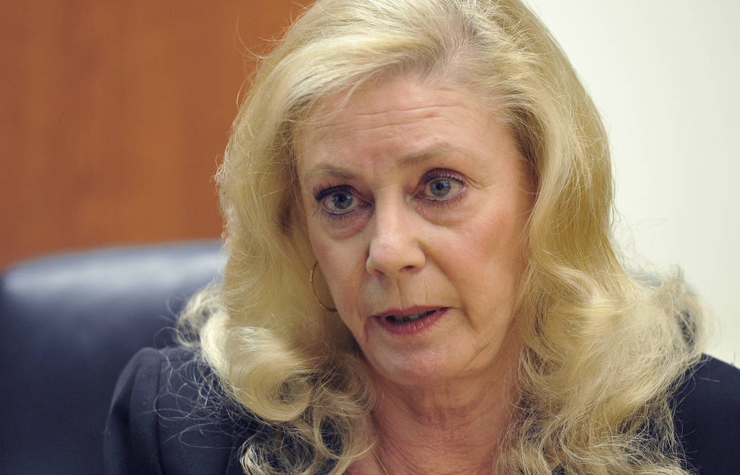Family Court Judge Sandra Pomrenze speaks with the Las Vegas Review-Journal editorial board on ...