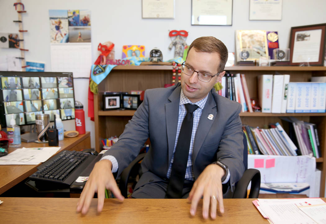 Principal Brandon Danowski talks about his school's efforts to fight truancy during an intervie ...