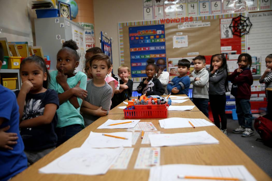 Students in Felisa Flores' kindergarten class, including from left, Alice Guerrero, Kaimani Pri ...