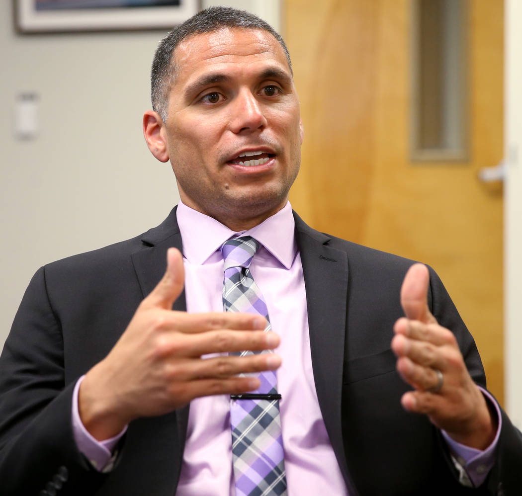 Principal Anthony Nunez talks about his school's efforts to fight truancy during an interview i ...