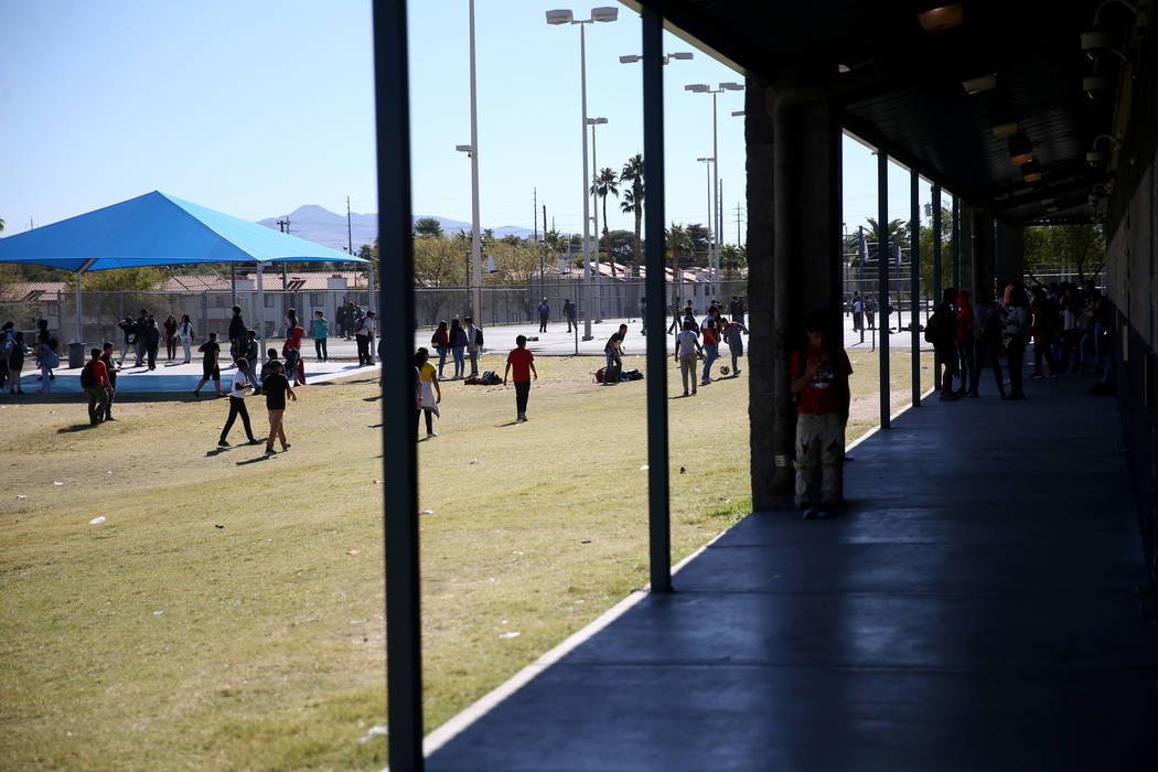 Students during lunch at Orr Middle School in Las Vegas Monday, Oct. 21, 2019. (K.M. Cannon/Las ...