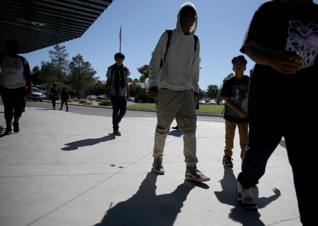 Students walk back to class after lunch at Orr Middle School in Las Vegas Monday, Oct. 21, 2019 ...