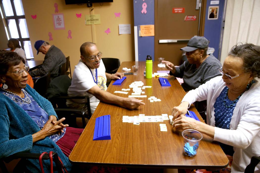 Pearlie Baker, 78, from left, Richard Green, 71, Dora Rice, 76, and Jo Washington, 80, play &qu ...