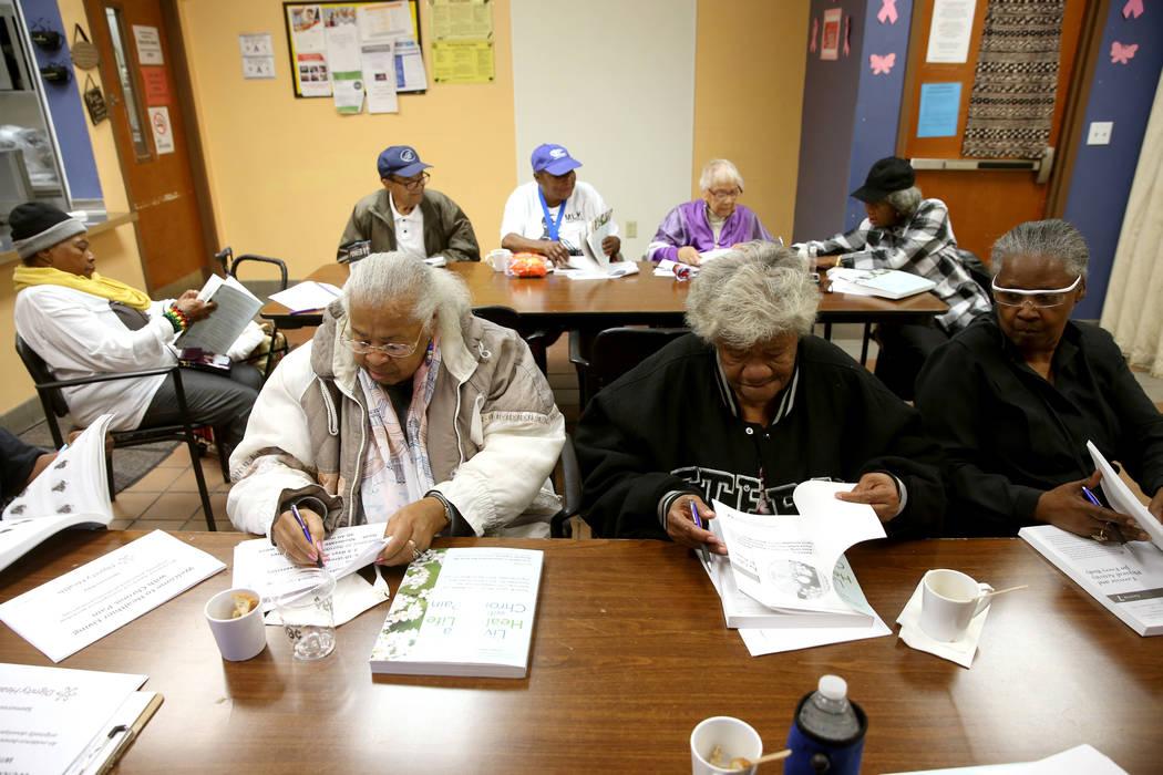 Seniors, including from left, Marietta Whitaker, 79, Ethel Richard, 77, and Ethel Burke, 67, at ...