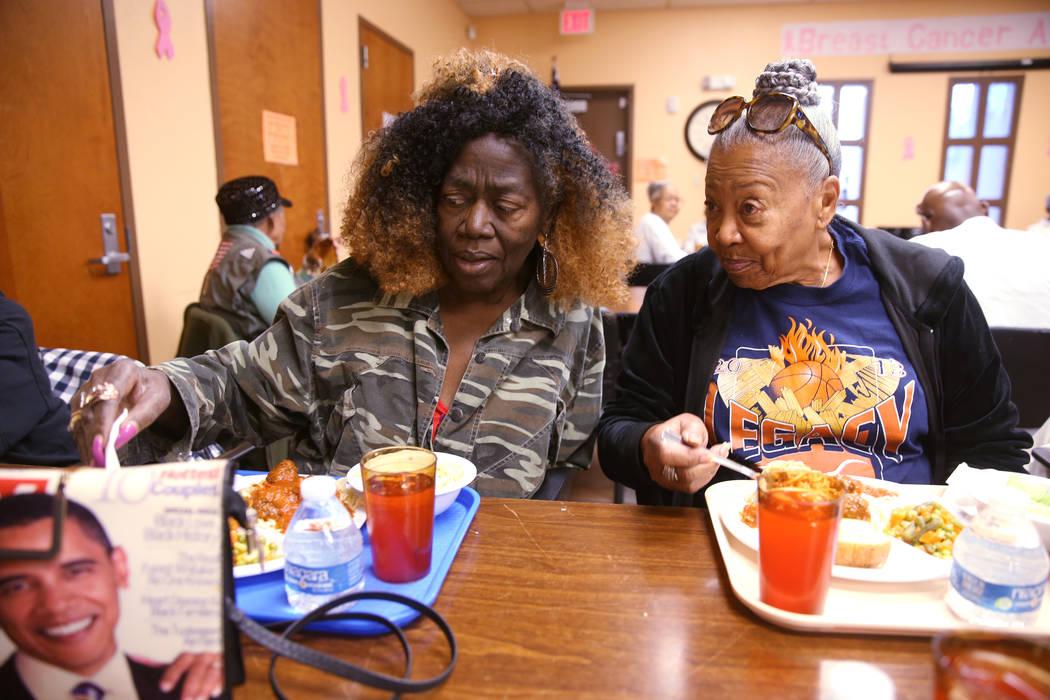 Peggy Branch, left, and Edna Banks visit during lunch at Martin Luther King Jr. Senior Center i ...