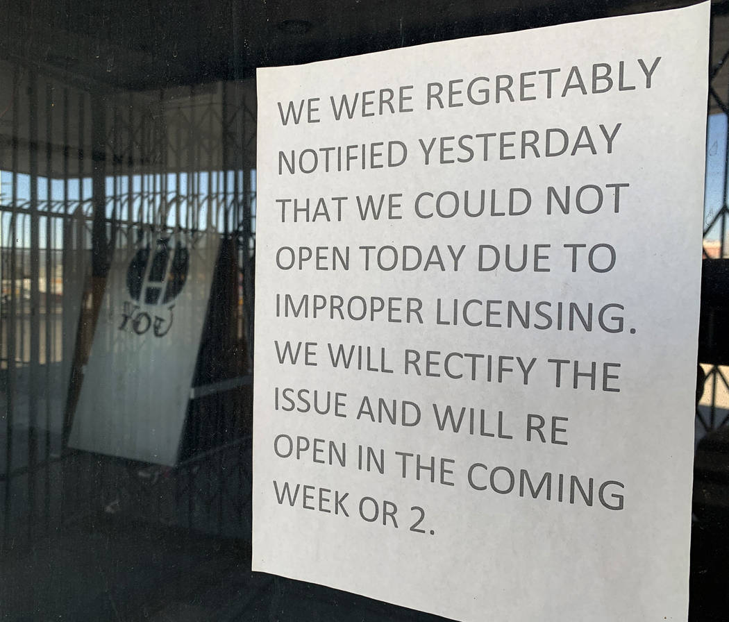 A sign announcing the closing of the historic Huntridge Theater hangs on the window outside the ...