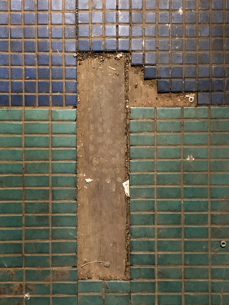 Missing tile in the concession area at the historic Huntridge Theater pictured on Thursday, Oct ...