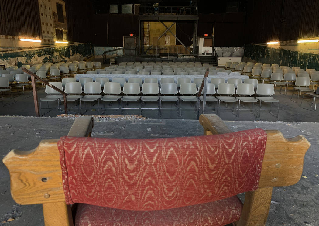 A chair sits on the stage facing the seating area inside the historic Huntridge Theater on Thur ...