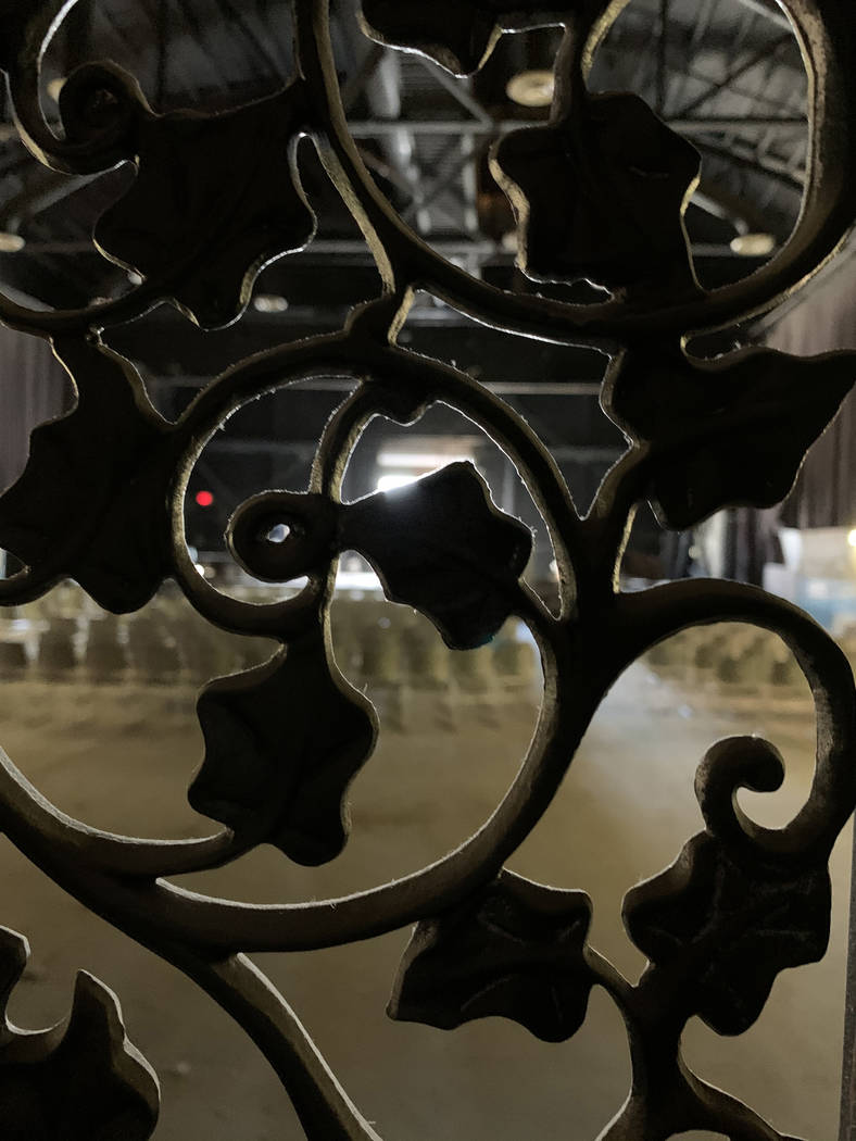 Decorative metal railing surrounds the sound booth at the historic Huntridge Theater on Thursda ...
