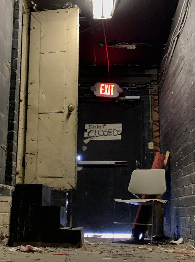 An exit corridor inside the historic Huntridge Theater photographed on Thursday, Oct. 31, 2019, ...