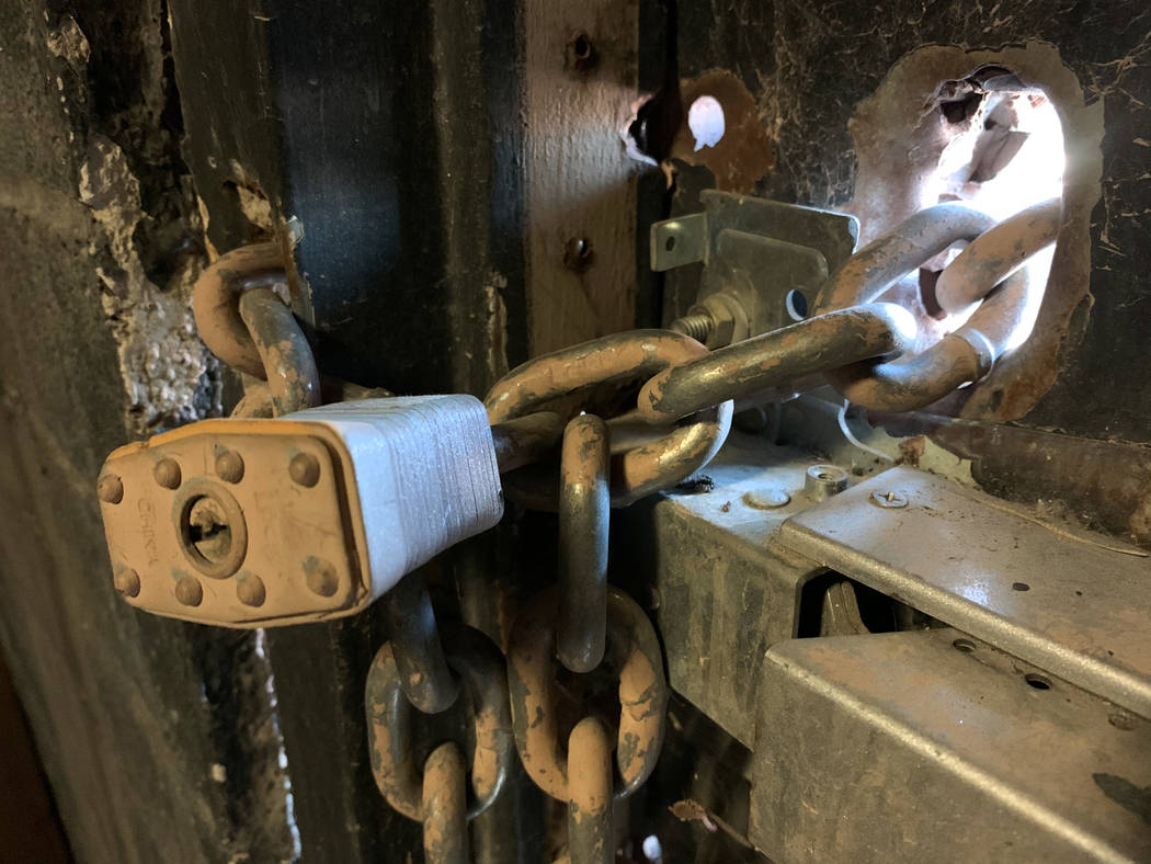 A locked exit door inside the historic Huntridge Theater photographed on Thursday, Oct. 31, 201 ...